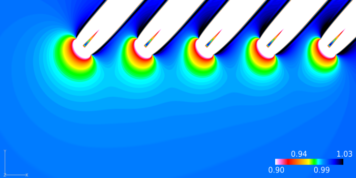 The flow upstream of a row of aligned wind turbine rotors and its effect on power production